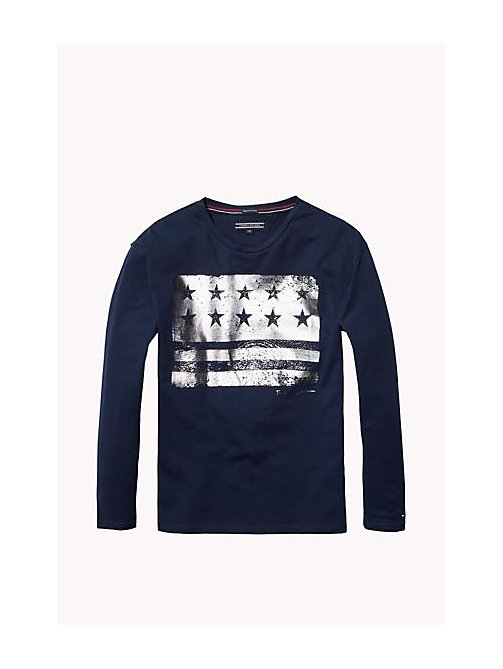 TOMMY HILFIGER Organic Cotton Crew Neck T-Shirt - NAVY BLAZER - TOMMY HILFIGER Girls - main image