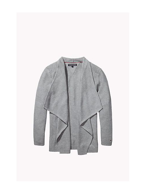 TOMMY HILFIGER Cotton Waterfall Cardigan - LIGHT GREY HTR - TOMMY HILFIGER Girls - main image