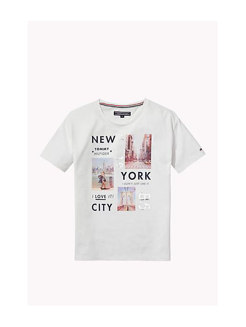 TOMMY HILFIGER Cotton Blend Crew Neck T-Shirt - BRIGHT WHITE - TOMMY HILFIGER Girls - main image