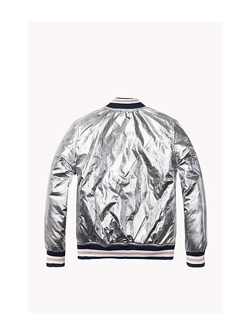 TOMMY HILFIGER Foil-Coated Varsity Jacket - METALLIC SILVER - TOMMY HILFIGER Girls - detail image 1