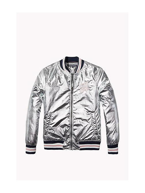 TOMMY HILFIGER Foil-Coated Varsity Jacket - METALLIC SILVER - TOMMY HILFIGER Girls - main image