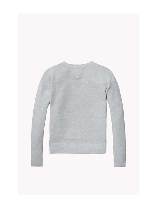 TOMMY HILFIGER Cotton Crew Neck Jumper - LIGHT GREY HTR - TOMMY HILFIGER Girls - detail image 1