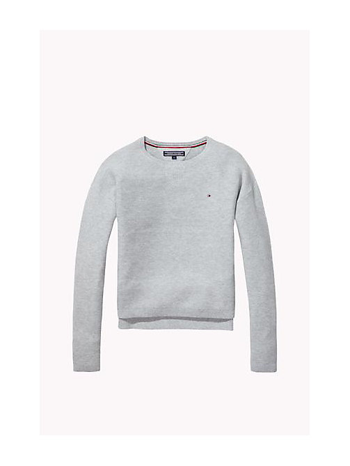 TOMMY HILFIGER Cotton Crew Neck Jumper - LIGHT GREY HTR - TOMMY HILFIGER Girls - main image