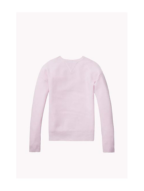 TOMMY HILFIGER Cotton Crew Neck Jumper - SOFT PINK - TOMMY HILFIGER Girls - detail image 1