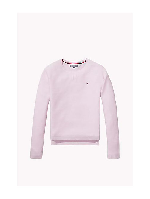 TOMMY HILFIGER Cotton Crew Neck Jumper - SOFT PINK - TOMMY HILFIGER Girls - main image