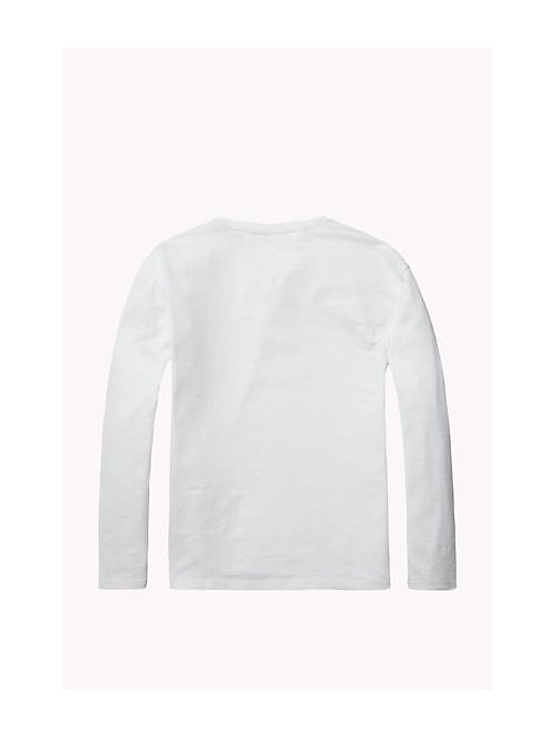TOMMY HILFIGER Cotton Blend Crew Neck T-Shirt - BRIGHT WHITE - TOMMY HILFIGER Girls - detail image 1