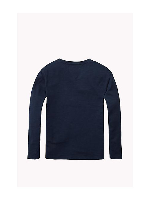 TOMMY HILFIGER Cotton Blend Crew Neck T-Shirt - NAVY BLAZER - TOMMY HILFIGER Girls - detail image 1