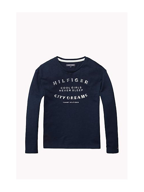 TOMMY HILFIGER Cotton Blend Crew Neck T-Shirt - NAVY BLAZER - TOMMY HILFIGER Girls - main image