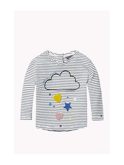 Cotton Crew Neck T-Shirt - BRIGHT WHITE - TOMMY HILFIGER Girls - main image