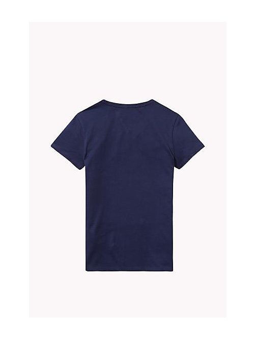 Organic Cotton Crew Neck T-Shirt - PEACOAT - TOMMY HILFIGER Girls - detail image 1