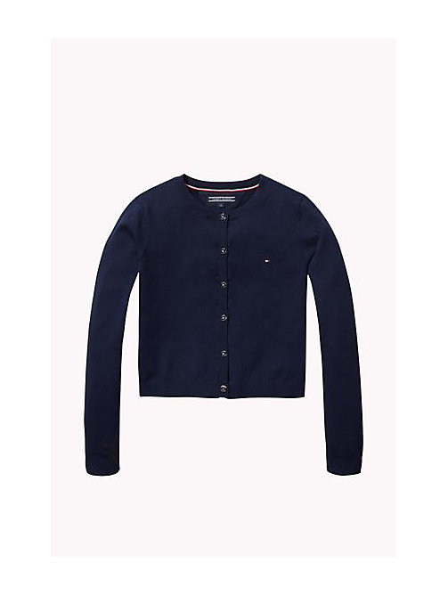 TOMMY HILFIGER Cotton Crew Neck Cardigan - NAVY BLAZER - TOMMY HILFIGER Girls - main image
