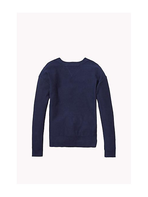 TOMMY HILFIGER Cotton Crew Neck Jumper - NAVY BLAZER - TOMMY HILFIGER Girls - detail image 1