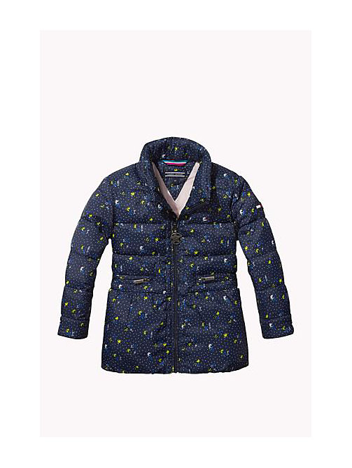 TOMMY HILFIGER Flower Printed Quilted Jacket - NAVY BLAZER - TOMMY HILFIGER Girls - main image