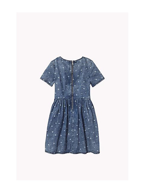 TOMMY HILFIGER Printed Denim Dress - INDIGO HEATHER - TOMMY HILFIGER Girls - detail image 1