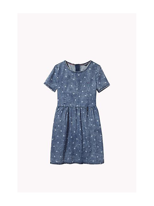 TOMMY HILFIGER Printed Denim Dress - INDIGO HEATHER - TOMMY HILFIGER Girls - main image