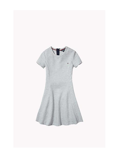 Striped Skater Dress - GREY HEATHER - TOMMY HILFIGER Girls - main image