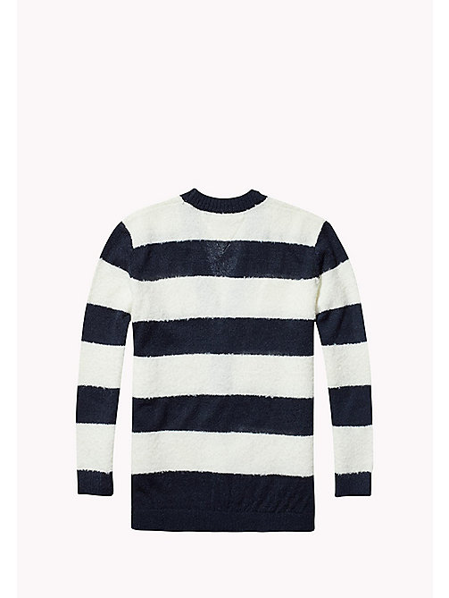 TOMMY HILFIGER Fluffy Striped Cardigan - NAVY BLAZER/MARSHMALLOW - TOMMY HILFIGER Kids - detail image 1