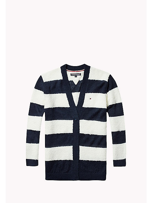 TOMMY HILFIGER Fluffy Striped Cardigan - NAVY BLAZER/MARSHMALLOW - TOMMY HILFIGER Kids - main image