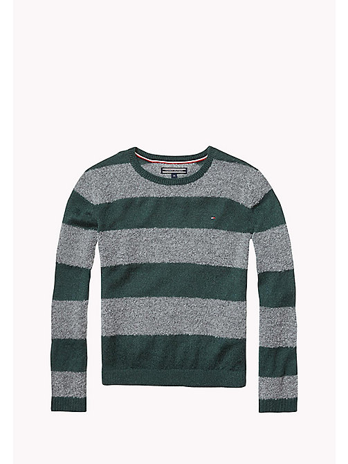 TOMMY HILFIGER Striped Jumper - GREEN GABLES/MID GREY HTR - TOMMY HILFIGER Girls - main image