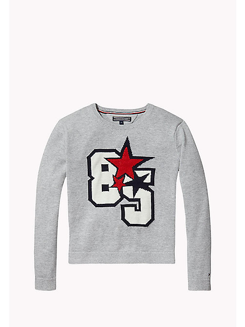 TOMMY HILFIGER Cotton Intarsia Jumper - GREY HEATHER - TOMMY HILFIGER Girls - main image