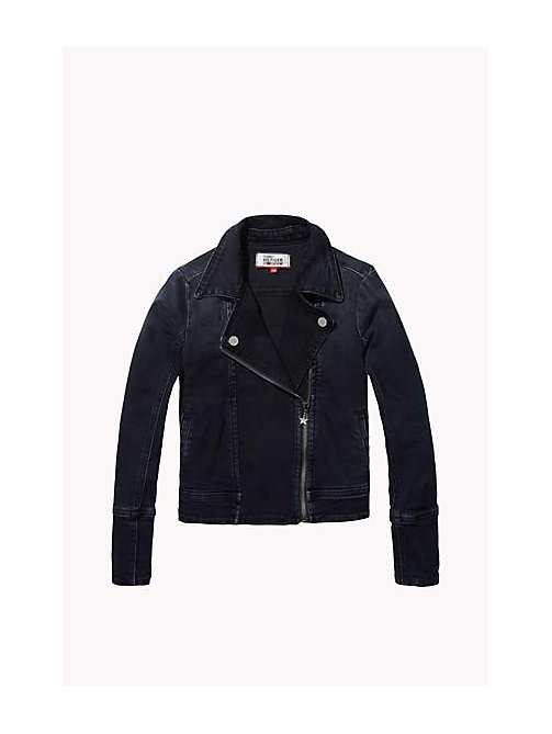 TOMMY HILFIGER Denim Biker Jacket - PACIFIC BLUE BLACK COMFORT STRETCH - TOMMY HILFIGER Girls - main image