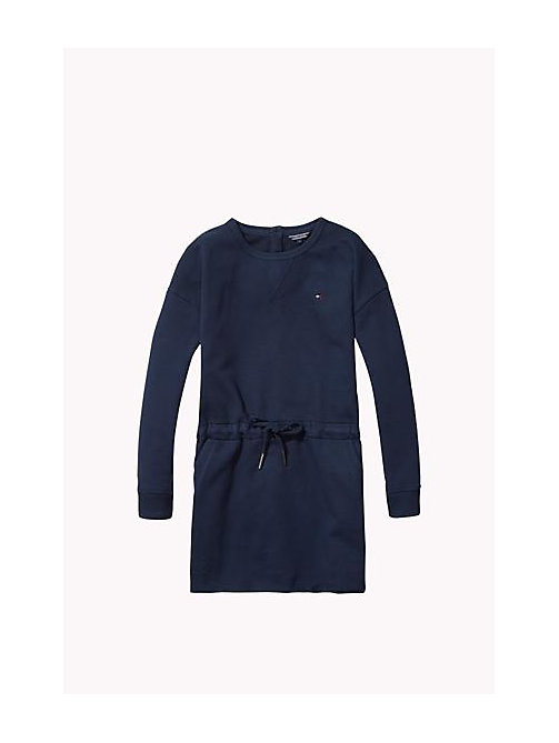 TOMMY HILFIGER Cotton Crew Neck Dress - NAVY BLAZER - TOMMY HILFIGER Girls - main image