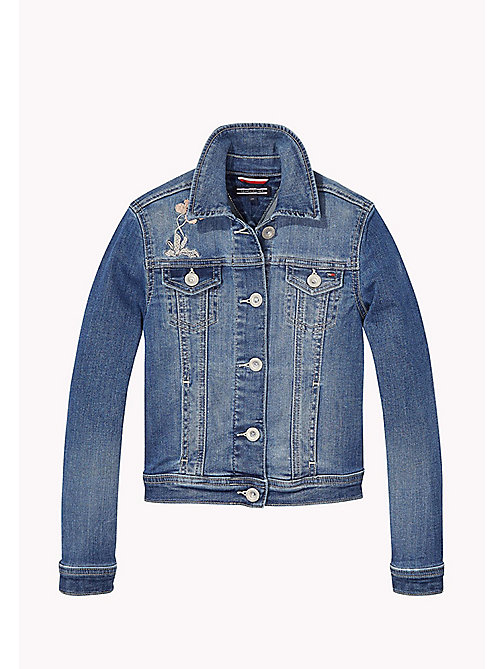 TOMMY HILFIGER Embroidered Denim Jacket - NEVADA MID BLUE STRETCH - TOMMY HILFIGER Girls - main image