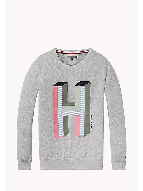 TOMMY HILFIGER Felpa con logo H - NEW GREY HEATHER B1NAC04 VOL. 46? - TOMMY HILFIGER Felpe - immagine principale
