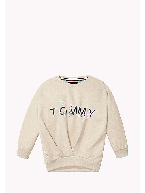 TOMMY HILFIGER Pleated Glitter Sweatshirt - KHAKI GREY HTR - TOMMY HILFIGER Sweatshirts & Hoodies - main image