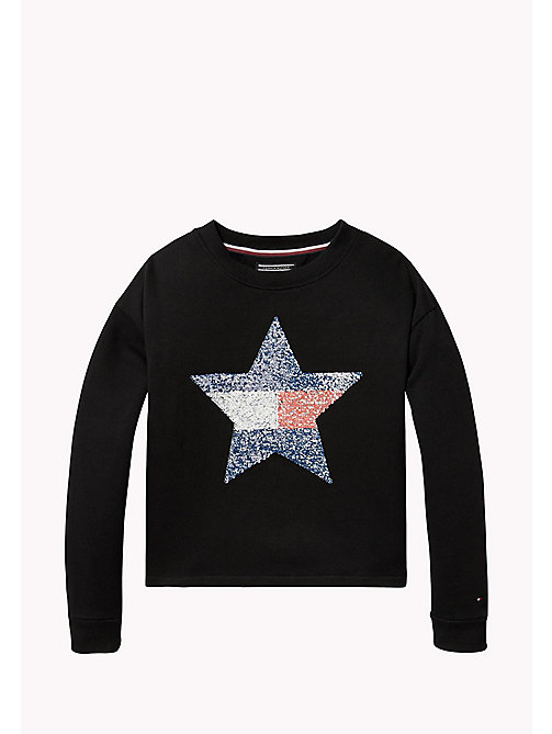TOMMY HILFIGER Sequined Star Sweatshirt - BLACK BEAUTY - TOMMY HILFIGER Girls - main image