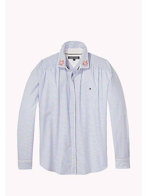 TOMMY HILFIGER Striped Cotton Shirt - SERENITY - TOMMY HILFIGER Tops & T-shirts - main image
