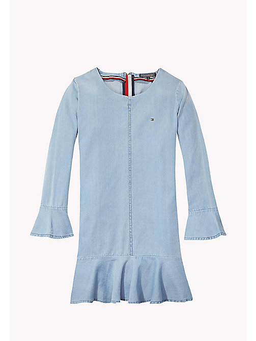 TOMMY HILFIGER Flared Cuff Denim Dress - LIGHT INDIGO - TOMMY HILFIGER Girls - main image