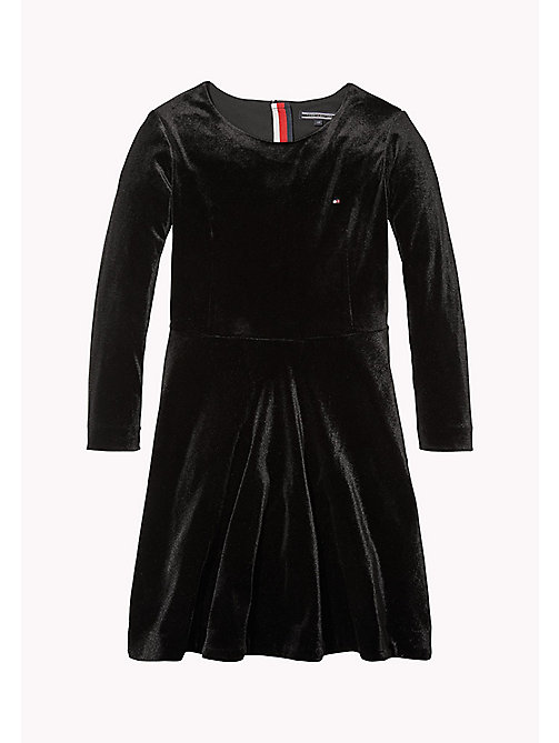 TOMMY HILFIGER Velvet Dress - BLACK BEAUTY - TOMMY HILFIGER Girls - main image