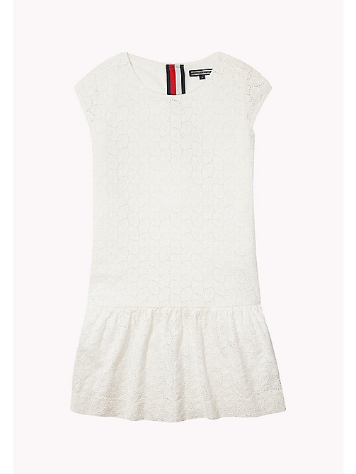 TOMMY HILFIGER Broderie Cotton Dress - BRIGHT WHITE - TOMMY HILFIGER Girls - main image