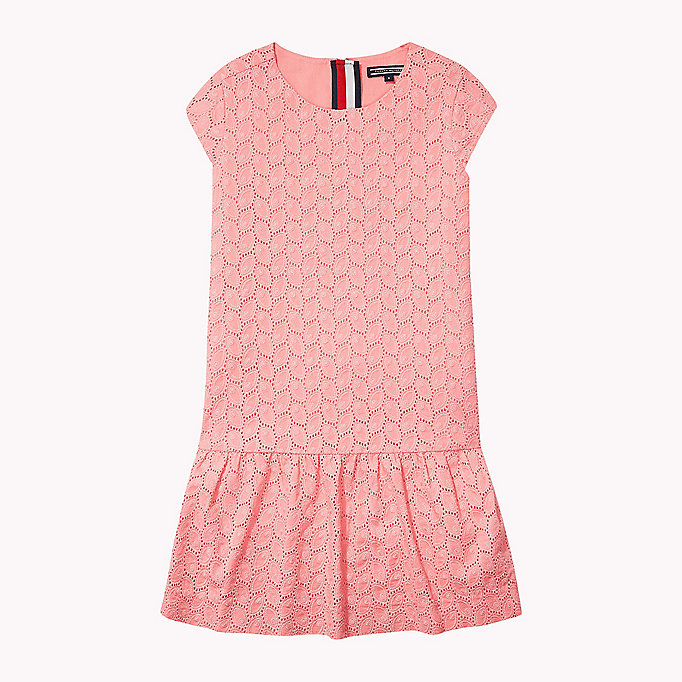 TOMMY HILFIGER Broderie Cotton Dress - BRIGHT WHITE - TOMMY HILFIGER Kids - main image