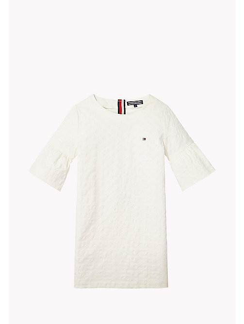 TOMMY HILFIGER Flared Cuff Shift Dress - BRIGHT WHITE - TOMMY HILFIGER Girls - main image