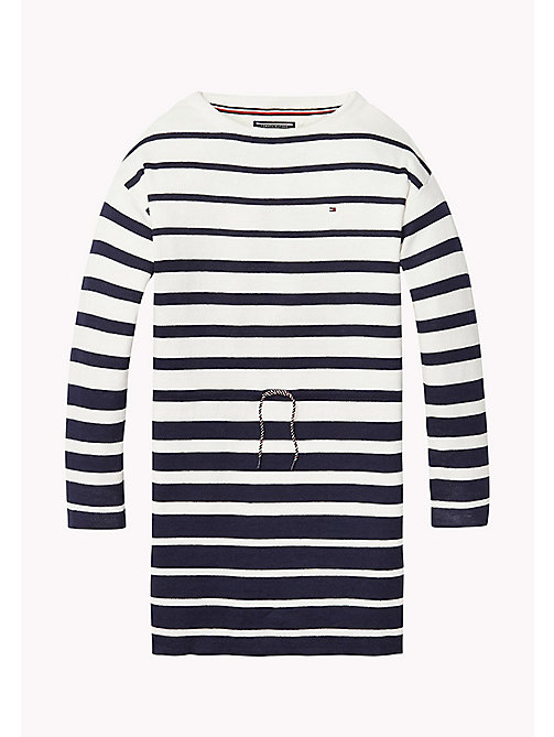 TOMMY HILFIGER STRIPE SWEATER DRESS L/S - BLACK IRIS / BRIGHT WHITE - TOMMY HILFIGER Kleider - main image