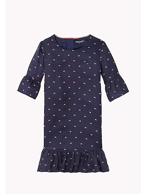 TOMMY HILFIGER Printed Flared Cuff Dress - BLACK IRIS - TOMMY HILFIGER Girls - main image