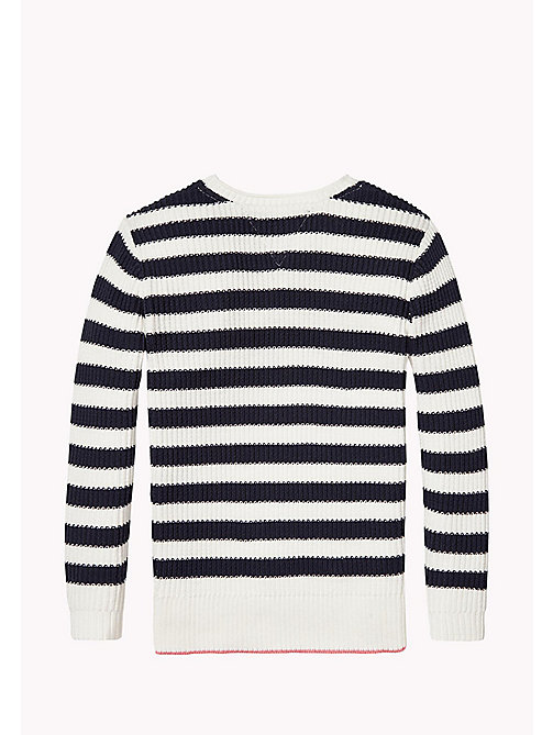 TOMMY HILFIGER EMBRO STRIPE SWEATER L/S - BLACK IRIS / BRIGHT WHITE - TOMMY HILFIGER Oberteile - main image 1