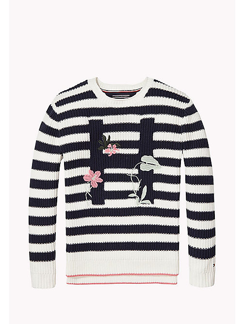 TOMMY HILFIGER EMBRO STRIPE SWEATER L/S - BLACK IRIS / BRIGHT WHITE - TOMMY HILFIGER Oberteile - main image