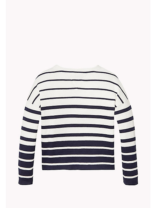 TOMMY HILFIGER Striped Cotton Jumper - BLACK IRIS/BRIGHT WHITE - TOMMY HILFIGER Girls - detail image 1