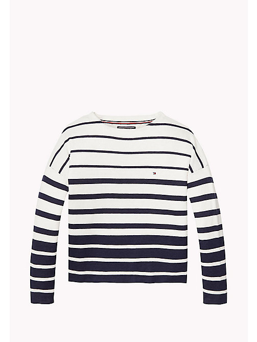 TOMMY HILFIGER Striped Cotton Jumper - BLACK IRIS/BRIGHT WHITE - TOMMY HILFIGER Girls - main image