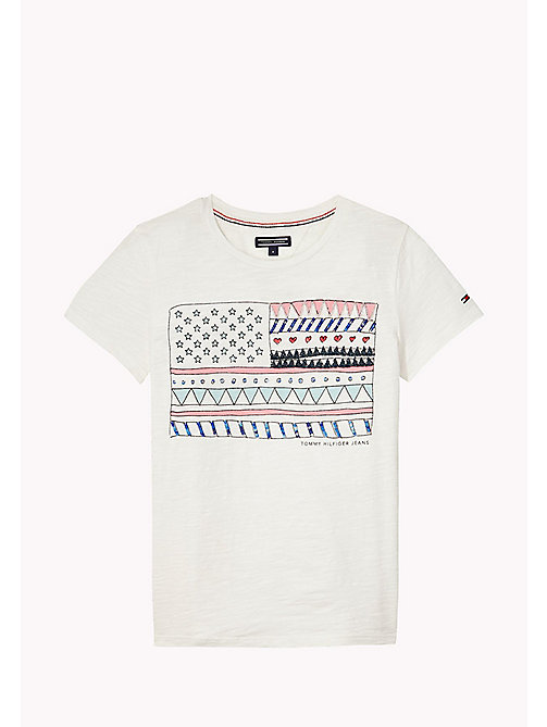 TOMMY HILFIGER FLAG CN KNIT S/S - BRIGHT WHITE - TOMMY HILFIGER Топы - главное изображение