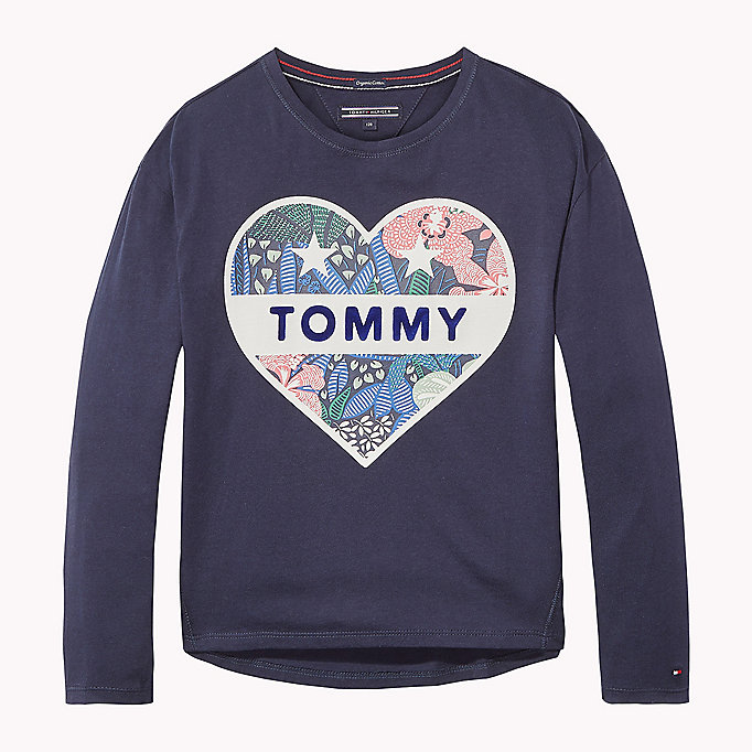 TOMMY HILFIGER Organic Cotton Crew Neck T-Shirt - NEW GREY HEATHER B1NAC04 VOL. 46 - TOMMY HILFIGER Kids - main image