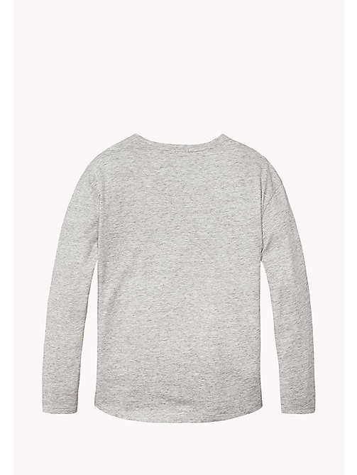 TOMMY HILFIGER AME LOGO FLOCK CN KNIT L/S - NEW GREY HEATHER B1NAC04 VOL. 46? - TOMMY HILFIGER Топы - подробное изображение 1
