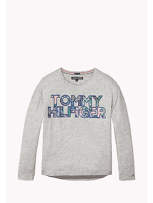 TOMMY HILFIGER Organic Cotton Crew Neck T-Shirt - NEW GREY HEATHER B1NAC04 VOL. 46? - TOMMY HILFIGER Girls - main image