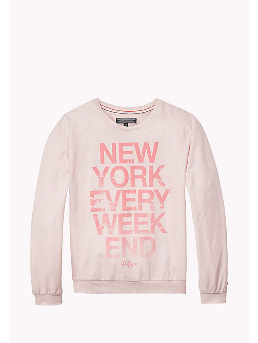 TOMMY HILFIGER Long Sleeved Cotton T-Shirt - FADED PINK HEATHER B4487 VOL. 46 - TOMMY HILFIGER Girls - main image