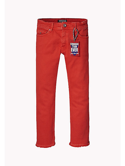 TOMMY HILFIGER Kids' Straight Fit Cropped Jeans - FLAME SCARLET - TOMMY HILFIGER Trousers, Shorts & Skirts - detail image 1