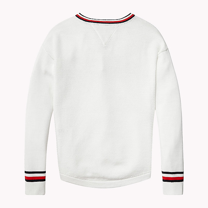 TOMMY HILFIGER Iconic Badge V-Neck Jumper - FLAME SCARLET - TOMMY HILFIGER Kids - detail image 1