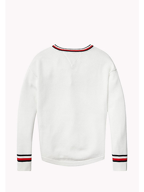 TOMMY HILFIGER Iconic Badge V-Neck Jumper - BRIGHT WHITE - TOMMY HILFIGER Girls - detail image 1